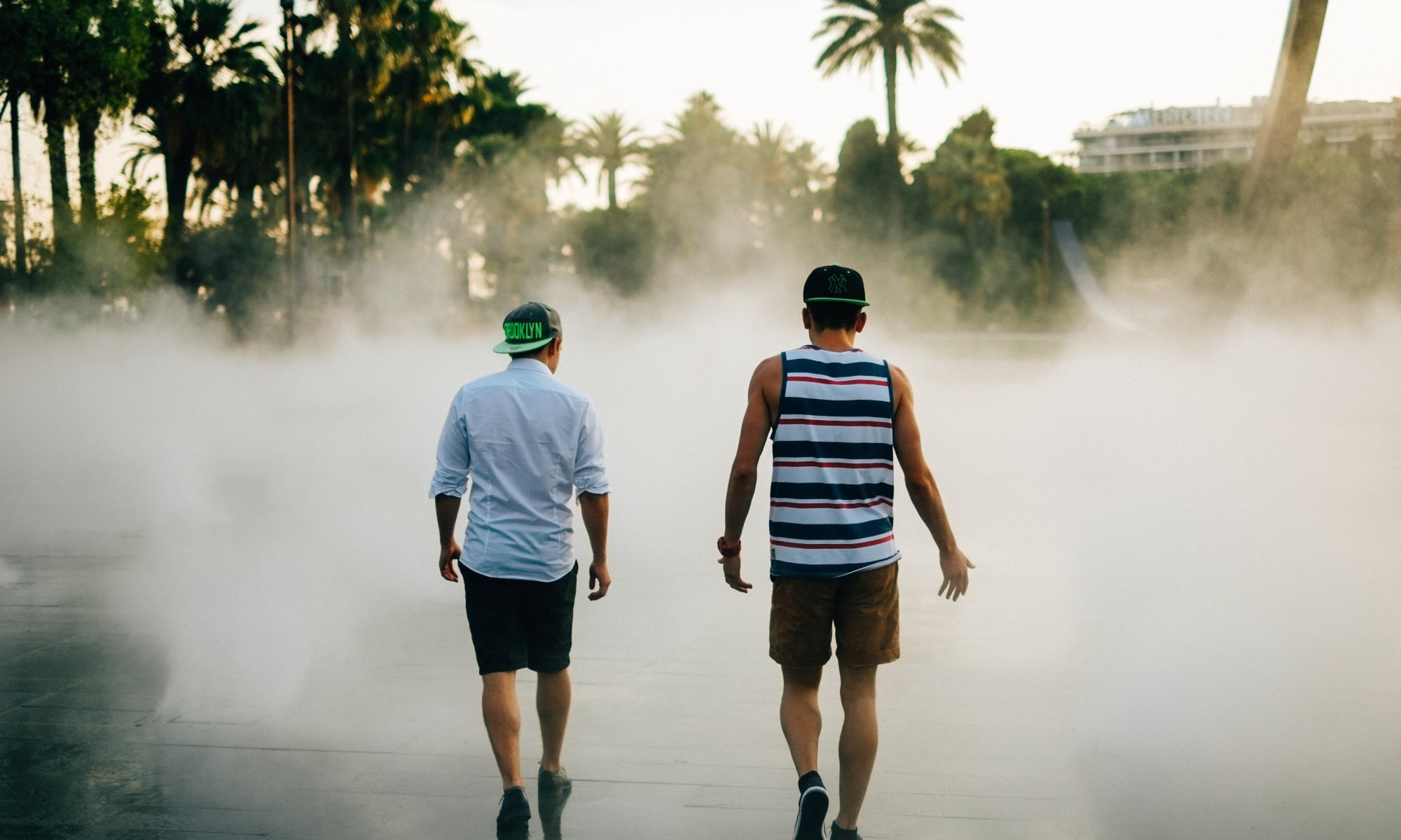 Friends walking in front of water fountain around palm trees