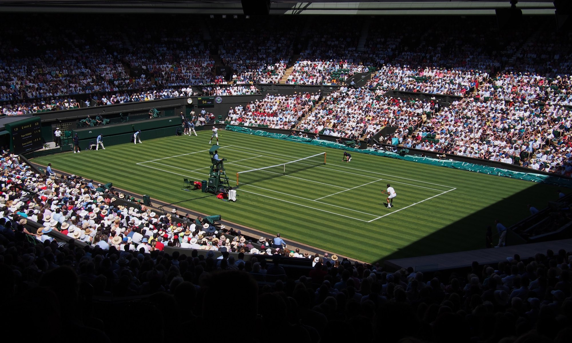 Singles tennis match on Wimbledon center court