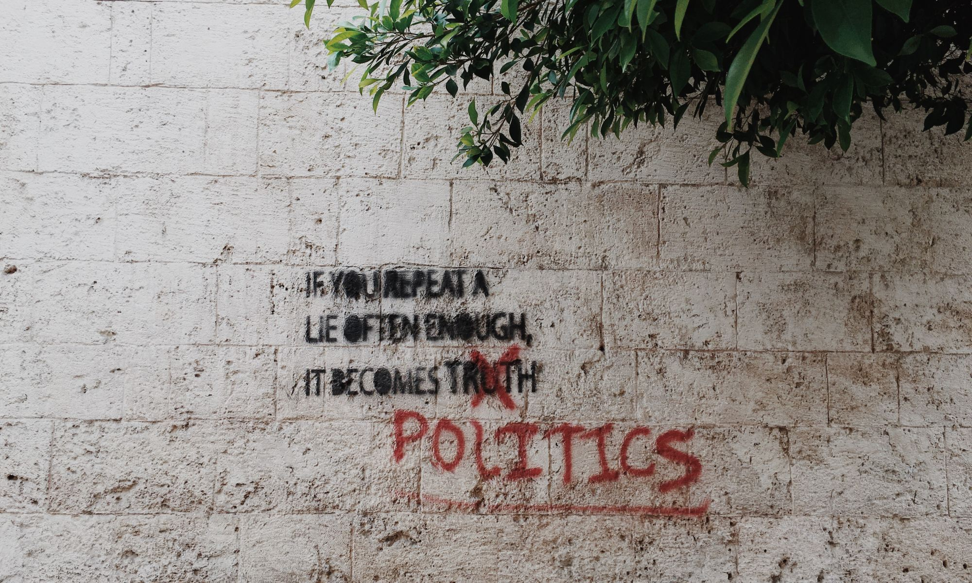 Graffiti about politics written on outside wall