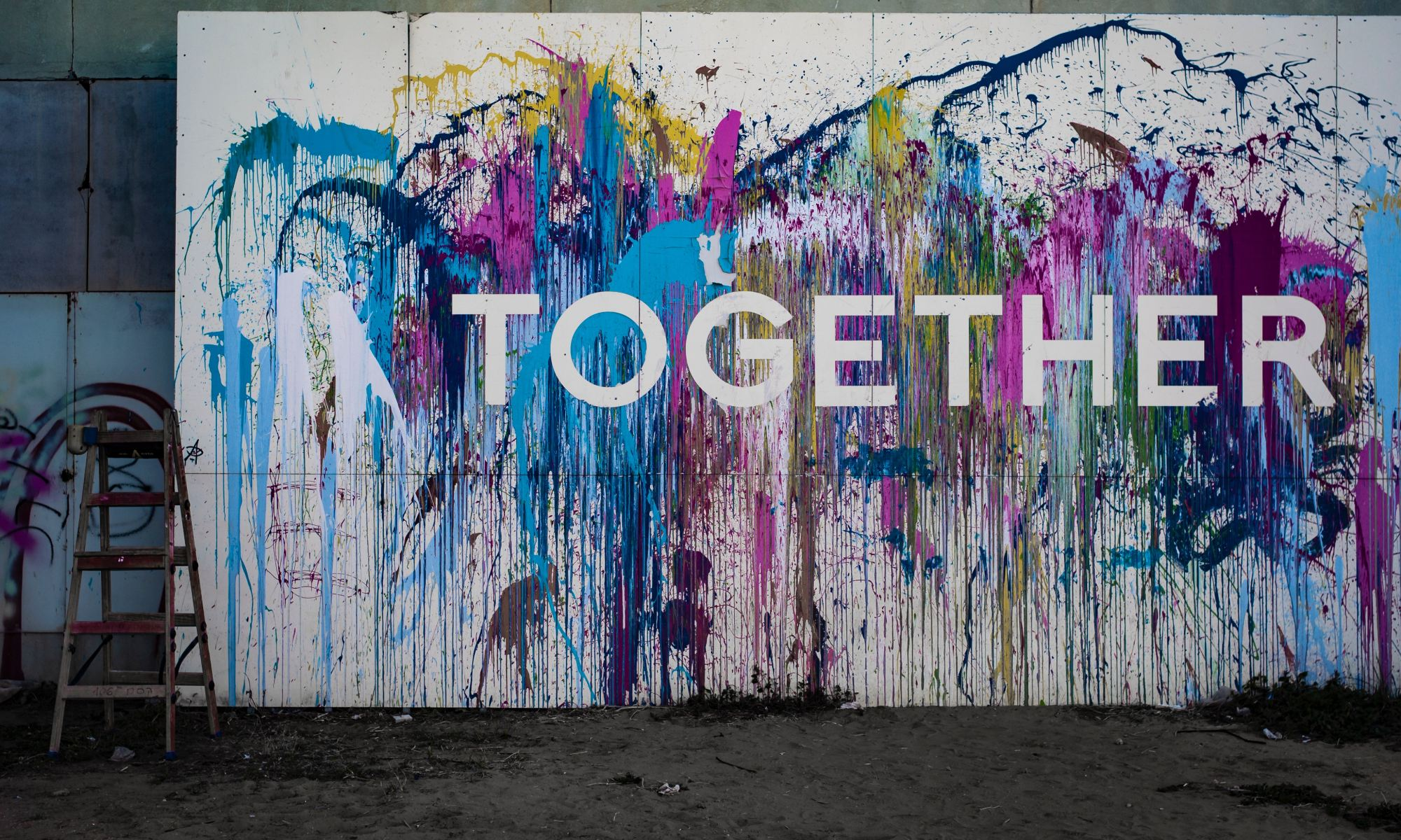 Colorful together signage painting