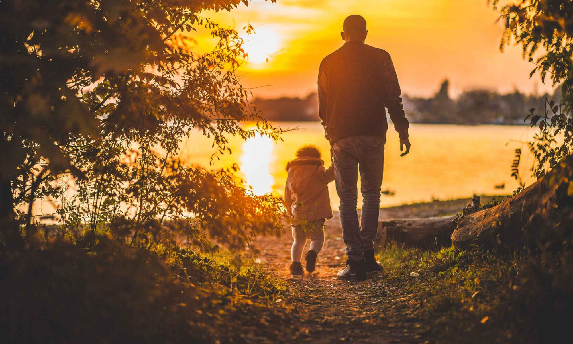 Father walking with child near trees towards lake during sunrise