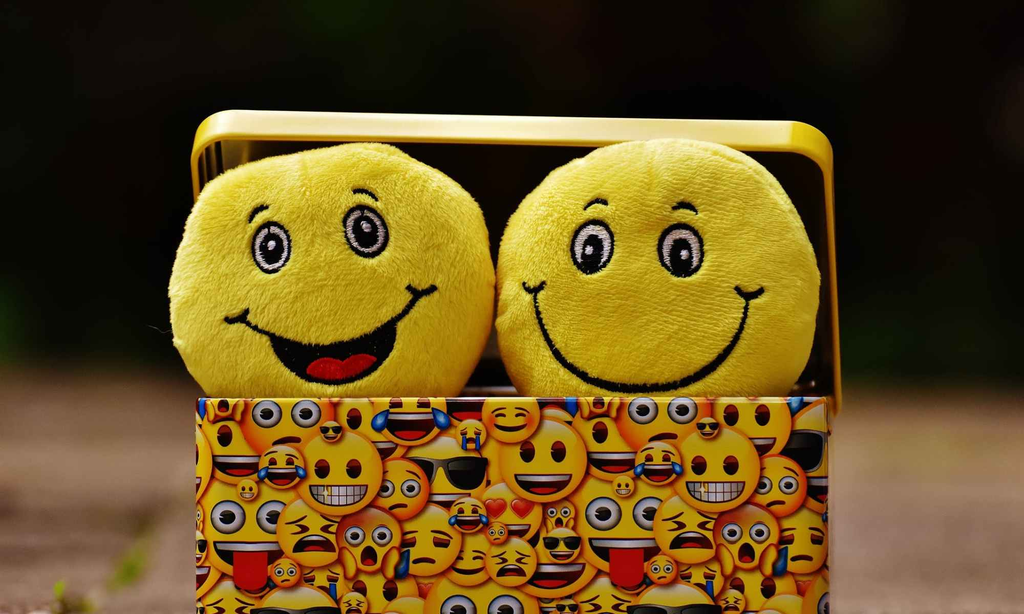 Two yellow smiley emoji on yellow case
