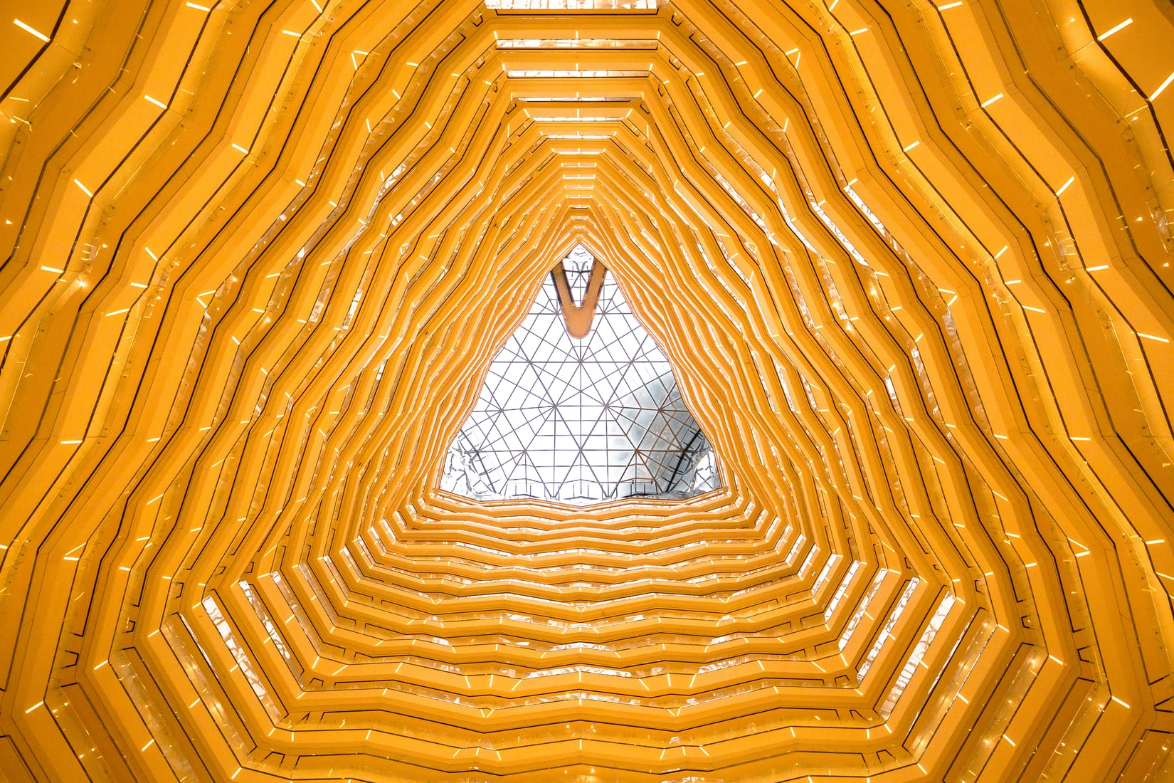 Low angle photography of yellow architecture